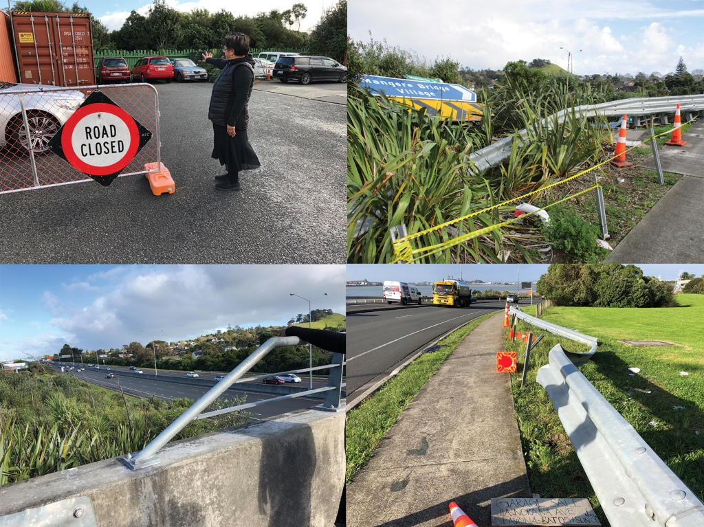 Set of images showing: 1. A Māori woman pointing to a closed-off road; 2. a damaged bridge from traffic accidents; 3. a busy highway; 4. a motorway with a mountain in the background